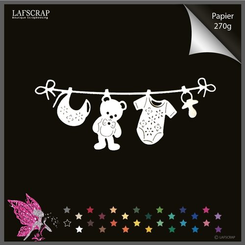 Découpe scrapbooking bébé naissance, étant à linge, vêtement body , ours, tétine bavoir découpe papier embellissement création