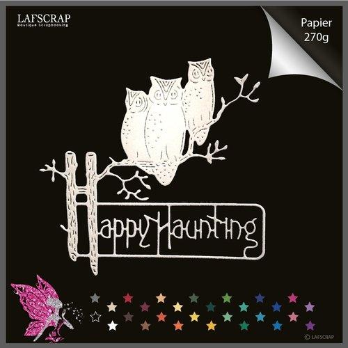 Découpe scrapbooking halloween hiboux sur branche arbre branche plume feuille feuillage animal pancarte mot découpe papier embellissement