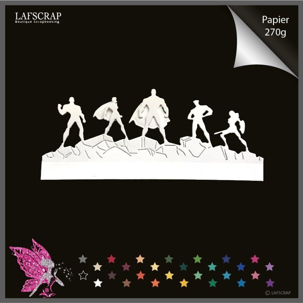 1 découpe scrapbooking, personnage homme femme, super héros jouet enfant, figurine, cape bouclier bordure découpe papier embellissement