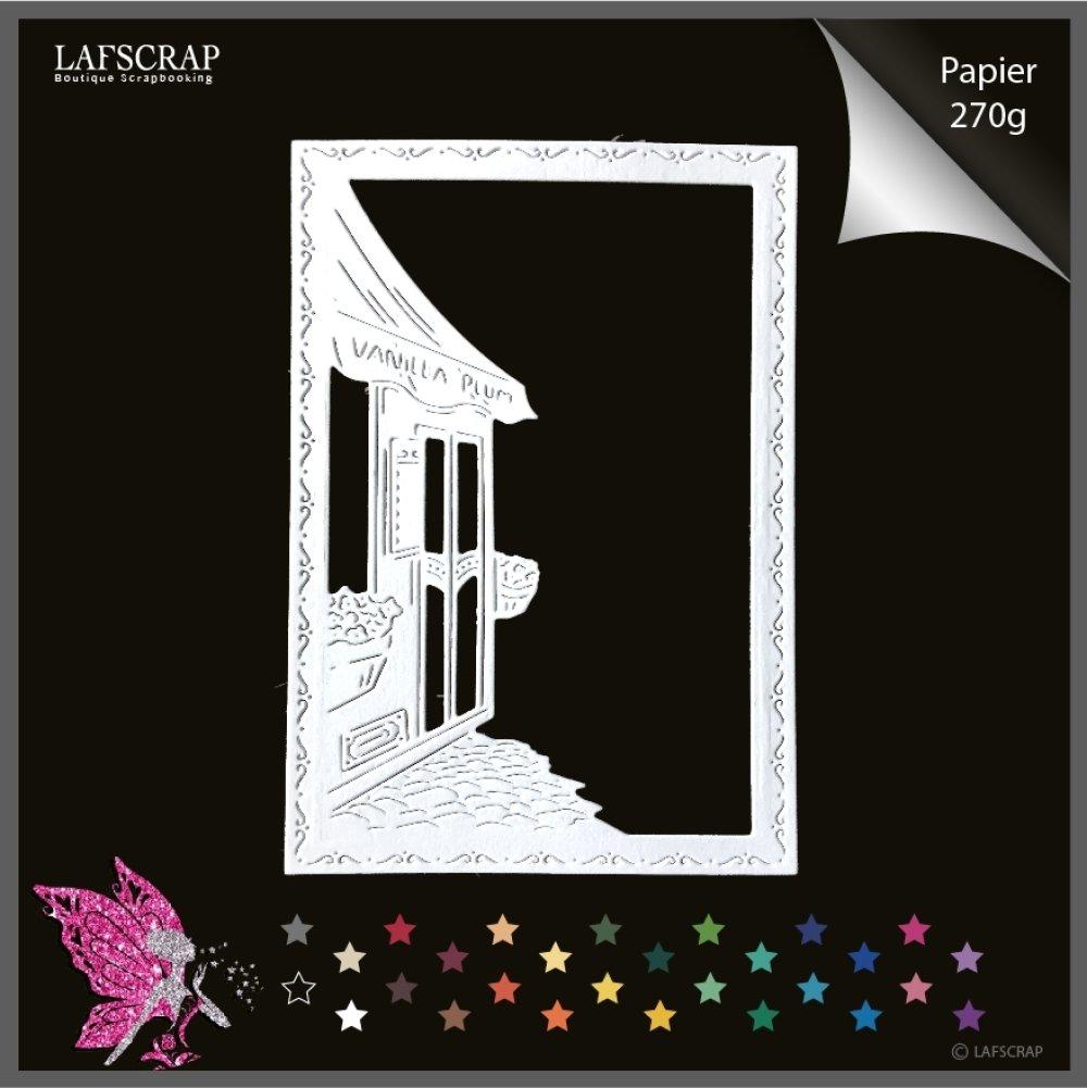 Découpe scrapbooking, cadre village, maison cottage, façade magasin rue ville fleur, découpe papier embellissement album