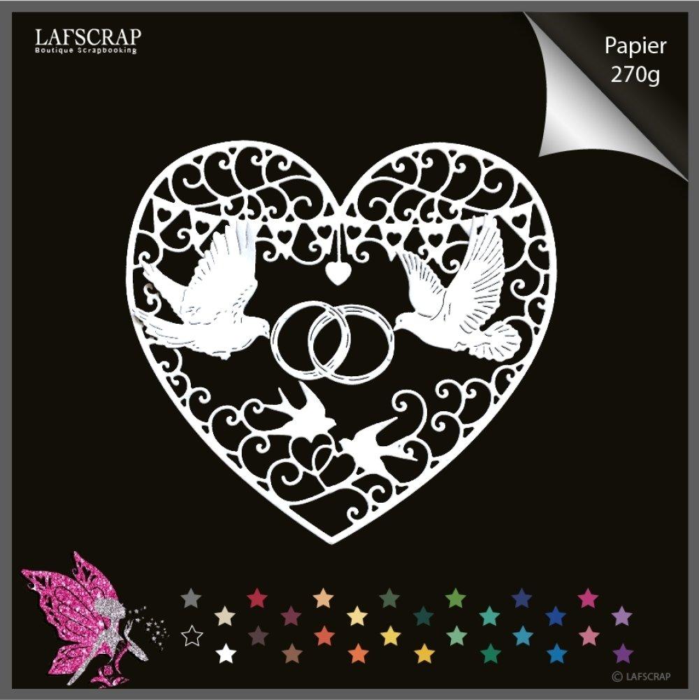 Découpes scrapbooking coeur amour, mariage noces, animal colombe oiseau, bague alliances,  découpe papier création