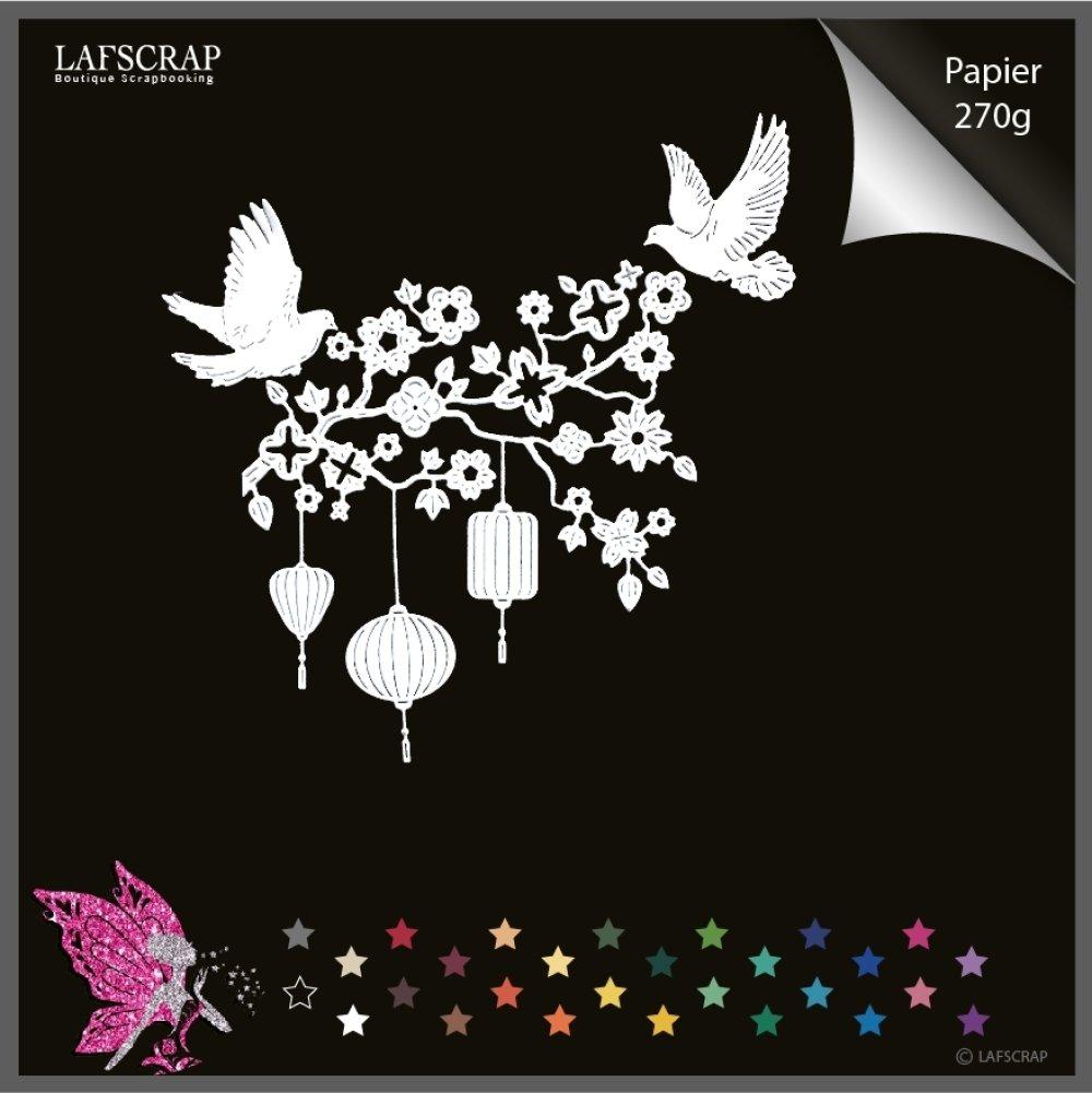 Découpes scrapbooking branche arbre fleur,  feuille lanterne, transat chaise jardin, colombe animal oiseau découpe papier