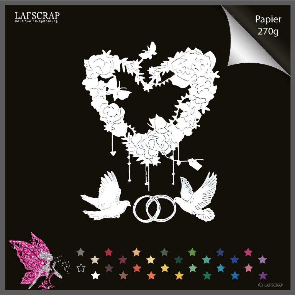 Découpes scrapbooking coeur étiquette tag, colombe animal oiseau,  amour mariage noces, bague alliances découpe papier