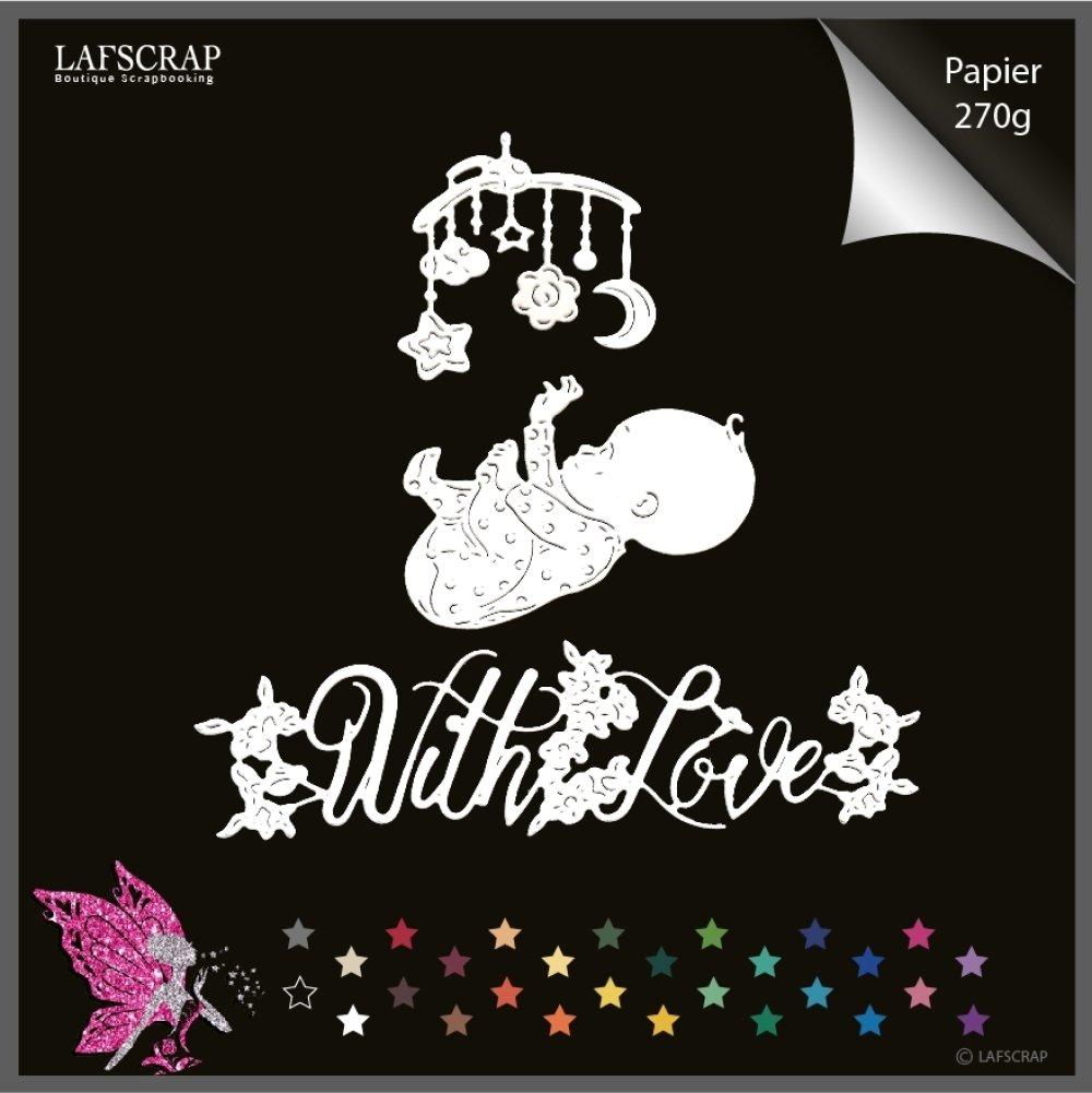 Découpes scrapbooking enfant bébé naissance, mobile lune, fleur étoile, mot with love amour, fleur découpe papier embellissement