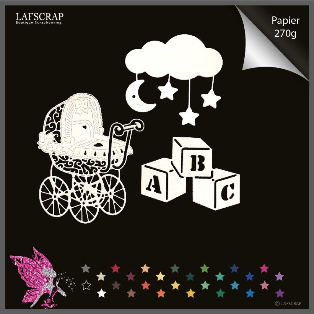 Découpes scrapbooking personnage enfant, bébé naissance, mobile lune, fleur étoile, chaussures tétine, landau  hochet, biberon