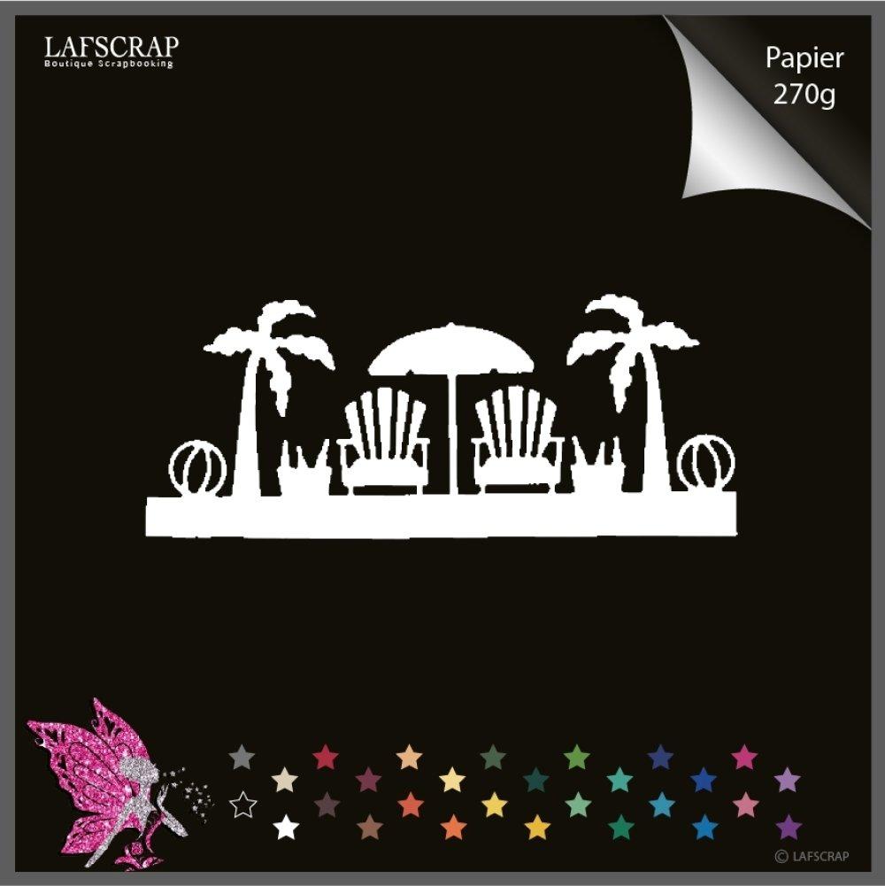 Découpe scrapbooking bordure vacances, chaise transat, parasol, ballon , bord de mer plage découpe papier embellissement album