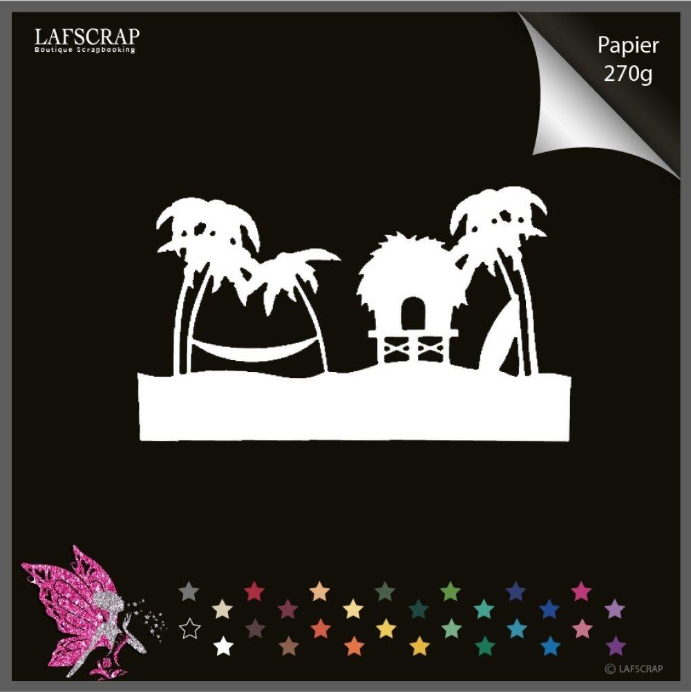 Découpe scrapbooking bordure bord de mer, parasol, palmier hamac surf vacances mer soleil découpe papier embellissement album
