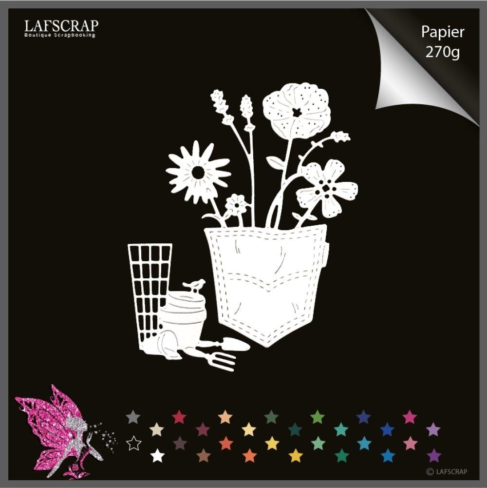 Découpes scrapbooking poche pantalon, fleur coquelicot, jardin outils jardinage, pelle  découpe papier embellissement création