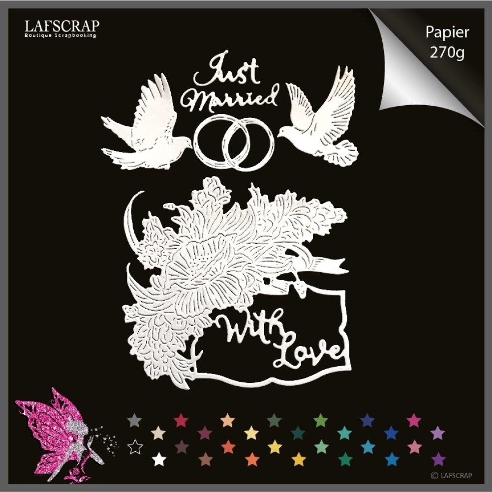 Découpes scrapbooking cadre rose fleur, bague alliances, colombe oiseau,  mariage noces,  mot with love découpe papier
