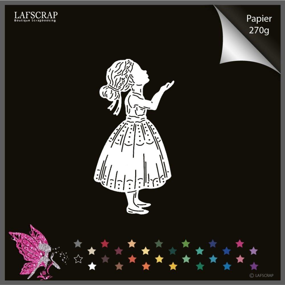 Découpe scrapbooking, personnage enfant, petite fille robe , découpe papier embellissement