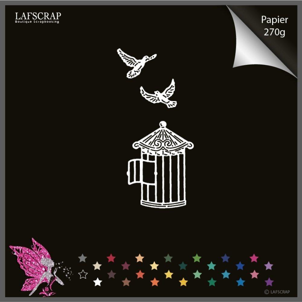 Découpe scrapbooking, cage oiseau, colombe, nature jardin découpe papier embellissement