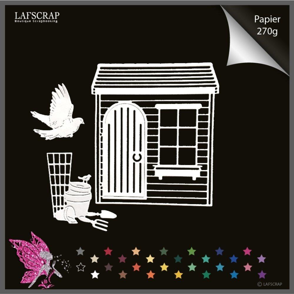 lot découpes scrapbooking cabane maison cottage jardin, pot outils jardinage, pot pelle colombe oiseau découpe papier création