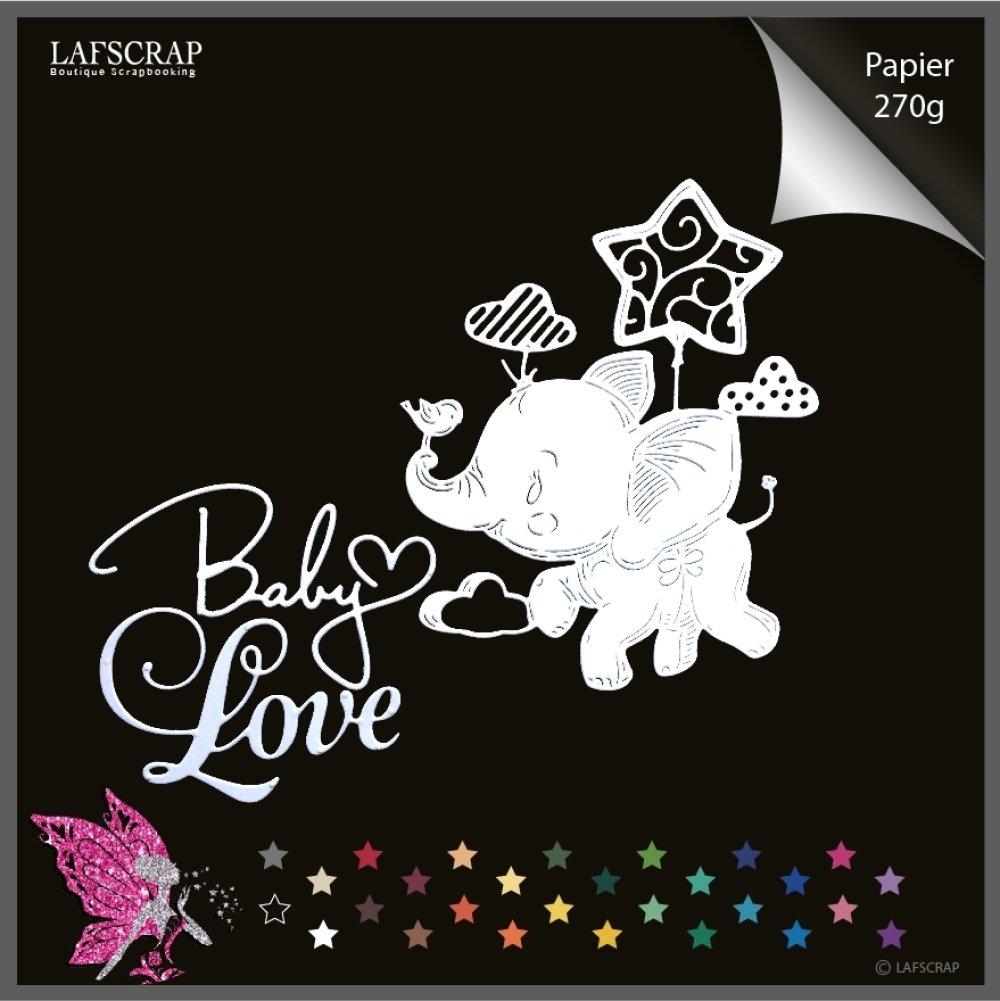 Découpes scrapbooking, éléphant animal, ballon étoile, mot baby, love amour bébé naissance, maternité découpe papier