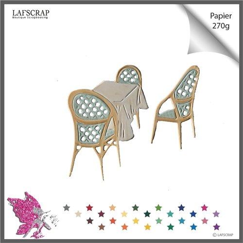 Lot découpes scrapbooking, chaise table,  fauteuil meuble, jardin, restaurant découpe papier embellissement album