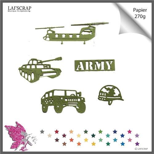Découpes scrapbooking usa armée militaire états-unis mot casque hélicoptère camion découpe papier embellissement décoration