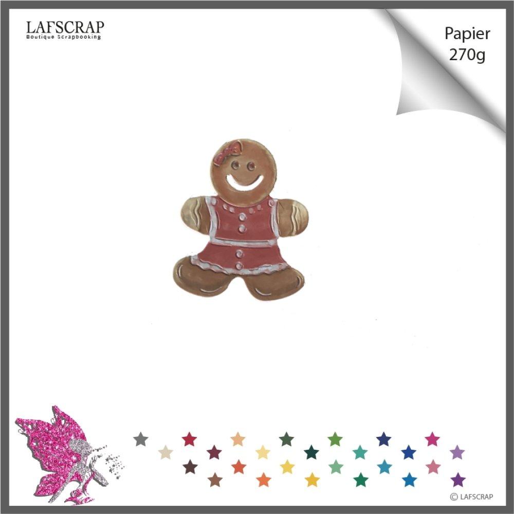 Découpe scrapbooking, personnage fille garçon, pain d'épice, noeud noël, découpe papier embellissement carte création