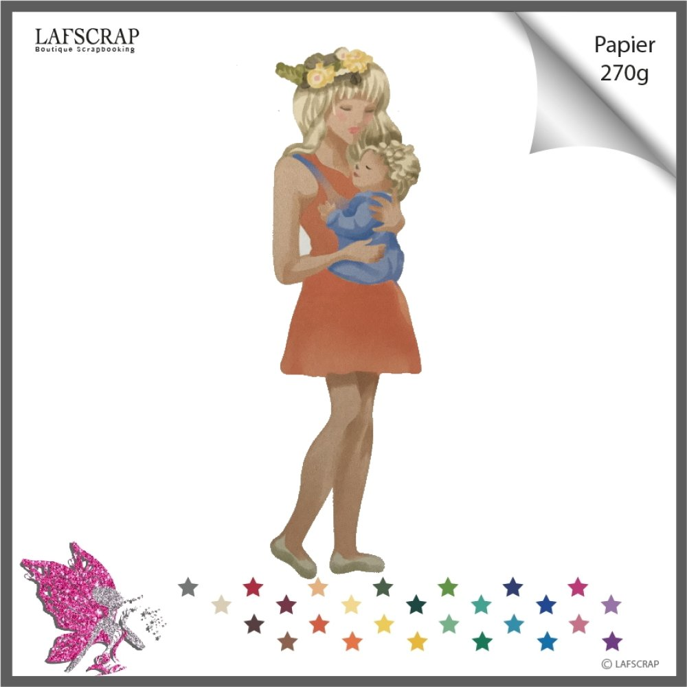 Découpe scrapbooking, personnage femme couronne fleur  bébé naissance cadeau découpe papier embellissement faire part