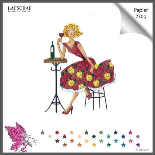 Découpe scrapbooking,personnage femme, verre cocktail, table, soleil vacances embellissement album carte création die cutting
