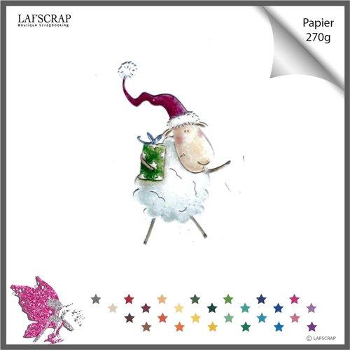 Découpe scrapbooking animal mouton bonnet pompon cadeau noël noeud ruban bébé enfant fête anniversaire découpe papier embellissement