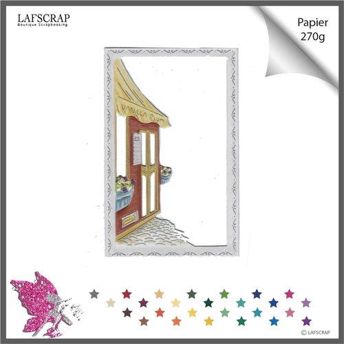 Découpe scrapbooking, cadre village, maison cottage, façade magasin, rue ville fleur, découpe papier embellissement album die