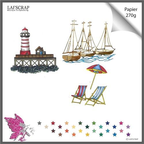 Découpes scrapbooking mer phare, ponton maison, transat chaise, bateau voilier,  parasol, vacances découpe papier embellissement