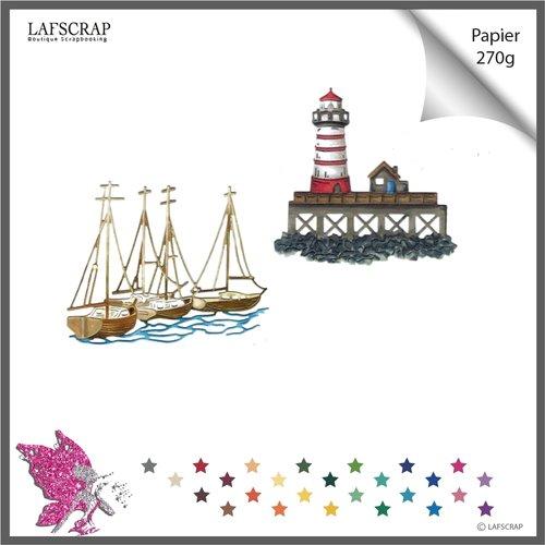 Découpes scrapbooking mer phare, ponton maison, bateau voilier,  vacances découpe papier embellissement