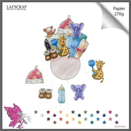 Découpes scrapbooking étiquette tag bébé enfant naissance girafe animal bonnet étoile cadeau ruban éléphant peluche chaussures
