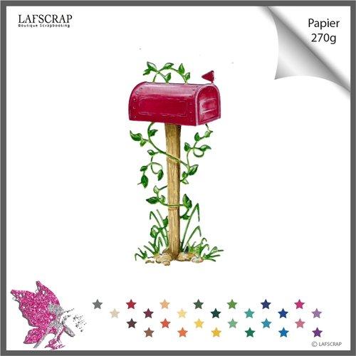 Découpe scrapbooking boite aux lettres fleur plante feuille feuillage jardin nature herbe  maison cottage  découpe papier faire part album