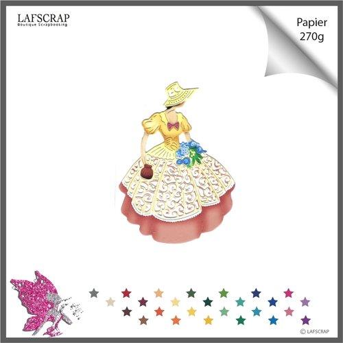 Découpe scrapbooking scrap personnage femme, robe chapeau, fleur, nature jardin,  découpe papier die cut création