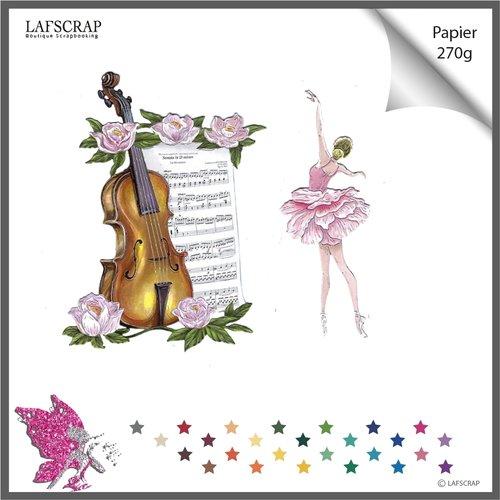 Découpes scrapbooking instrument musique violon fleur rose feuille jardin mariage ballerines femme danseuse embellissement lafscrap