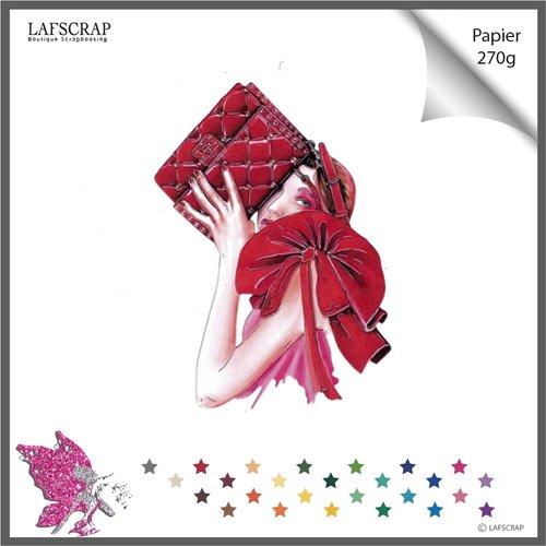 Découpe scrapbooking personnage femme sac à main maquillage mariage noces cabaret découpe papier embellissement