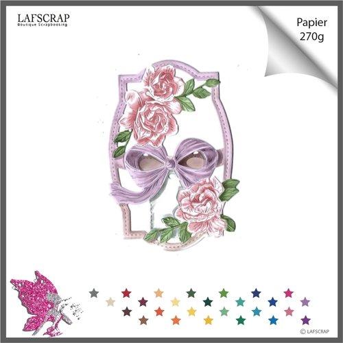 Découpe scrapbooking, étiquette tag, fleur rose feuille, noeud, mariage noces, bébé naissance découpe papier embellissement carte
