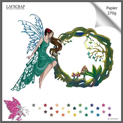 Découpes scrapbooking scrap personnage femme fée ailes oiseau plume princesse cadre forêt arbre lune champignon bébé jardin magie