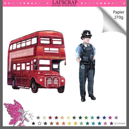 Découpes scrapbooking personnage femme fille police soldat anglais, londres bus car jouet enfant cadeau camion voyage découpe papier