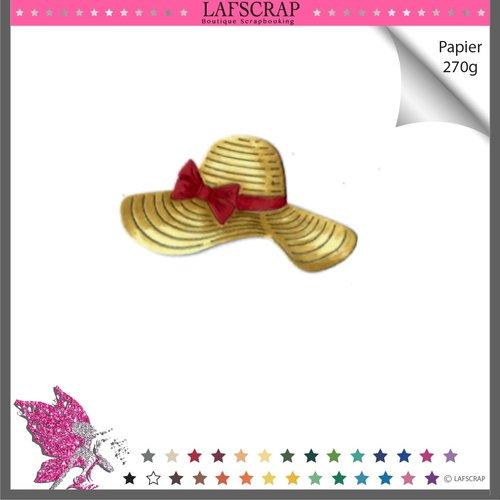 Découpe scrapbooking chapeau plage noeud ruban mer vacances été soleil découpe papier embellissement