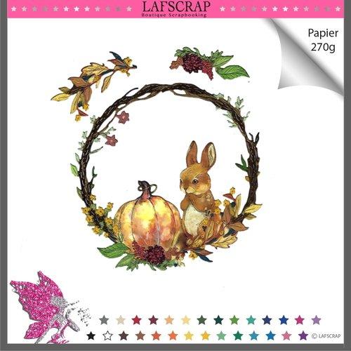 Découpe scrapbooking cadre animal lapin forêt légume citrouille feuille nature parfum maison jardin fête halloween noël automne arbre