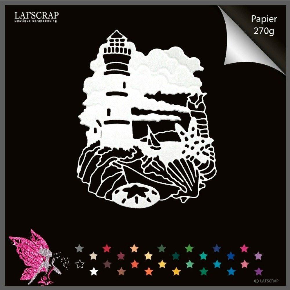 1 découpe scrapbooking cadre phare mer bateau coquillage nuage découpe papier embellissement album
