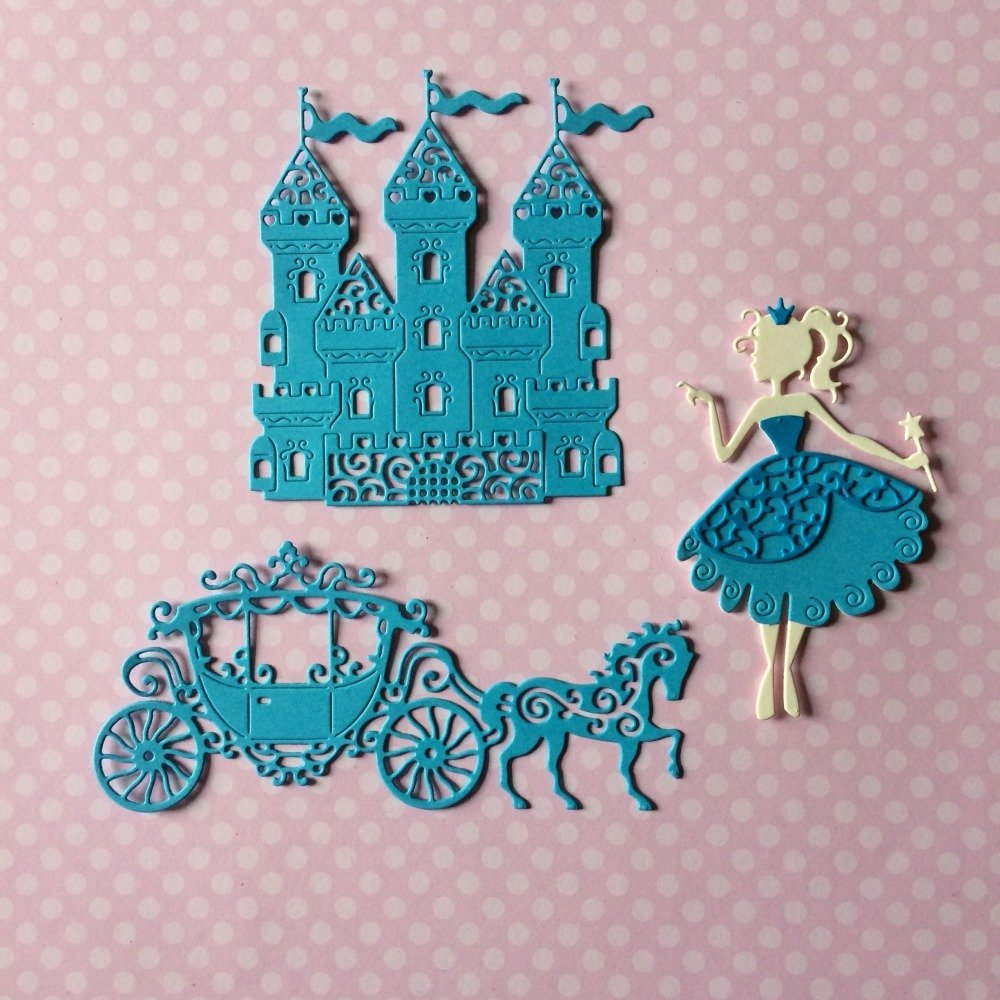 lot découpes scrapbooking scrap château personnage princesse carrosse cheval animal