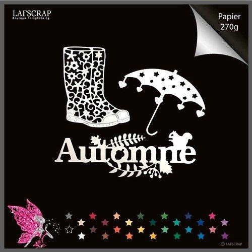 Découpes scrapbooking parapluie coeur étoile bottes mot automne écureuil feuille découpe papier