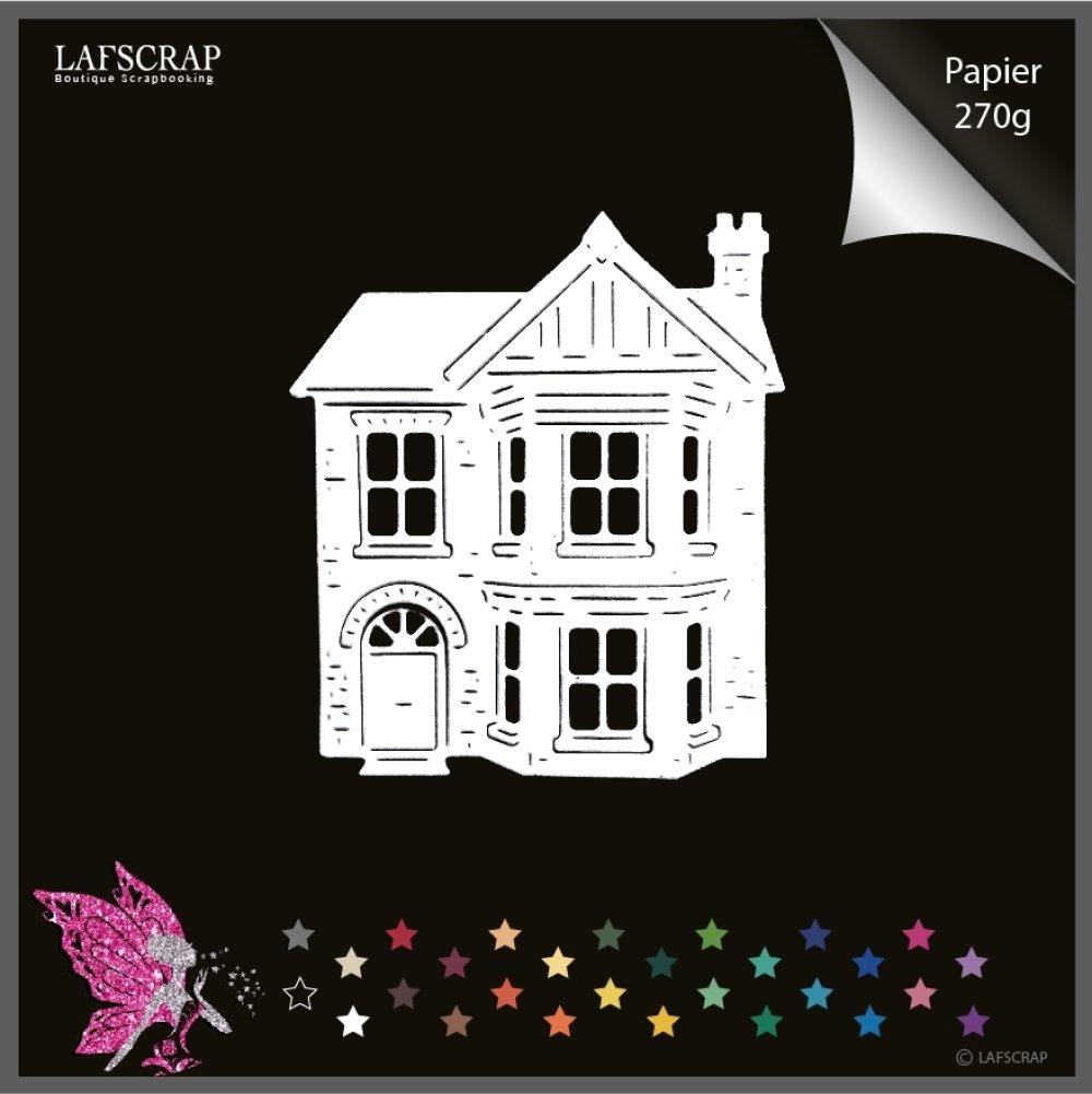 1 découpe scrapbooking, maison cottage, porte, fenêtre, cheminée, découpe papier embellissement album carte
