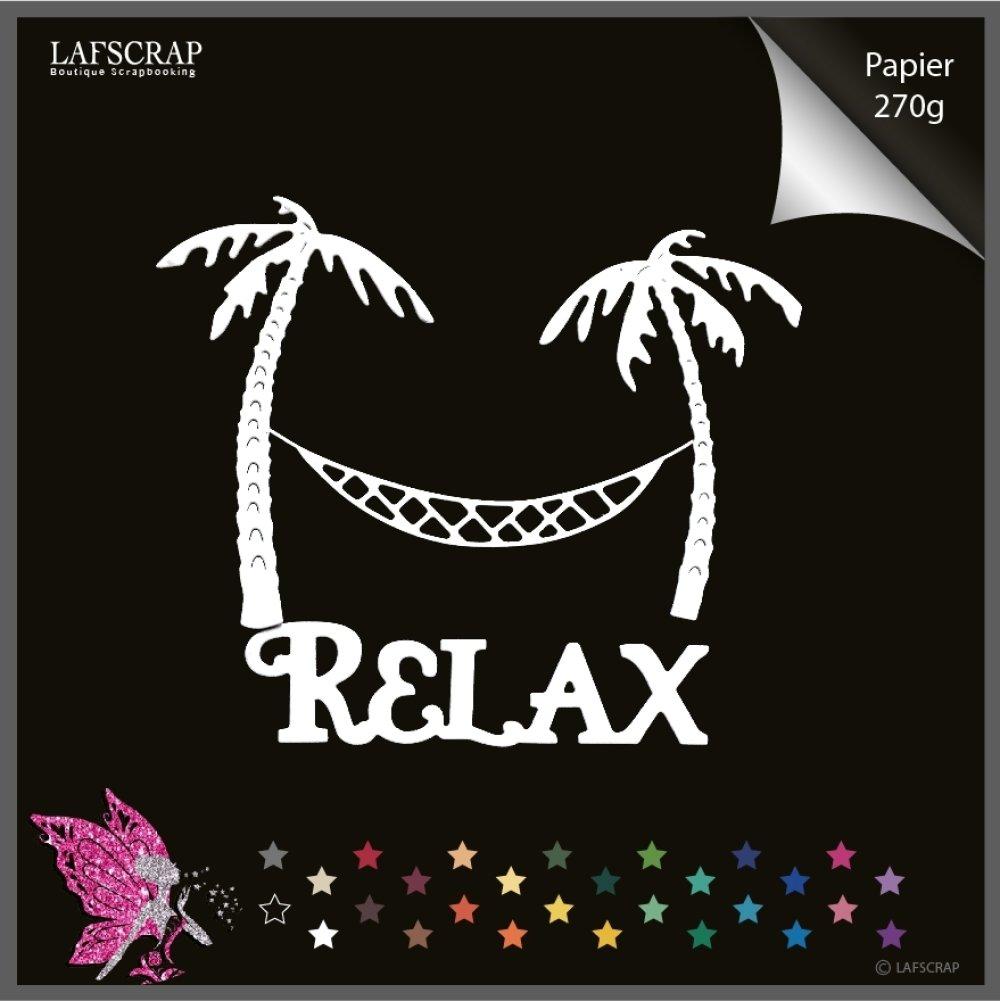 lot découpes scrapbooking bordure arbre palmier, vacances mer, plage hamac, mot relax découpe papier embellissement création