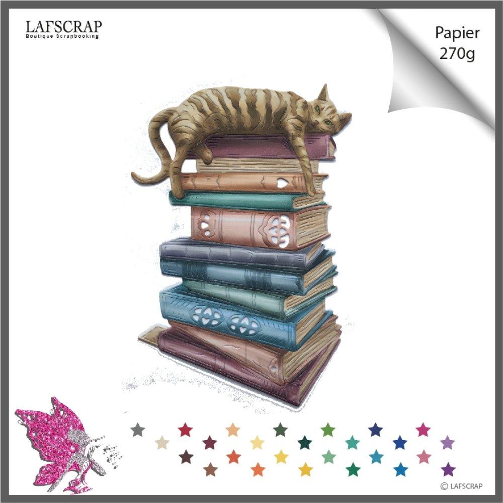 Découpe scrapbooking livre lecture, animal chat maison conte  découpe papier embellissement carte création
