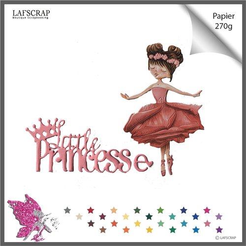Découpes scrapbooking personnage fille enfant, mot princesse couronne, robe tutu, danse, danseuse étoile, opéra ballet, bébé