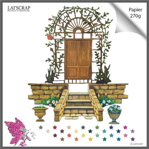 Découpes scrapbooking, porte barrière fleur, escalier jardin, plante, jardinage, découpe papier embellissement album carte