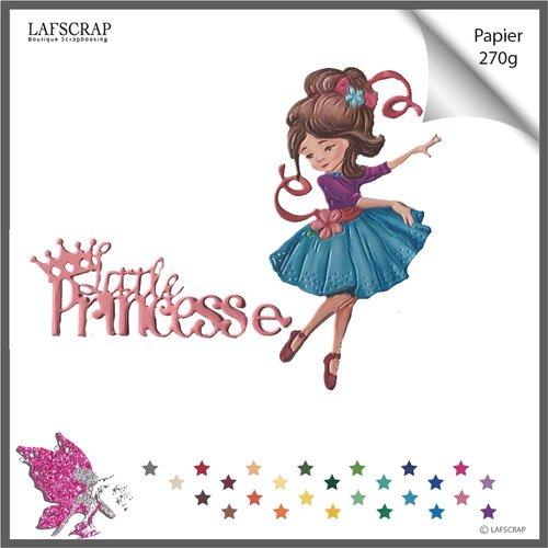 Découpes scrapbooking personnage fille enfant,  robe, mot little princess, princesse, bébé naissance découpe papier embellissement