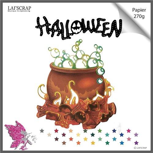 Découpes scrapbooking chaudron de sorcière, mot halloween, citrouille découpe papier embellissement  création