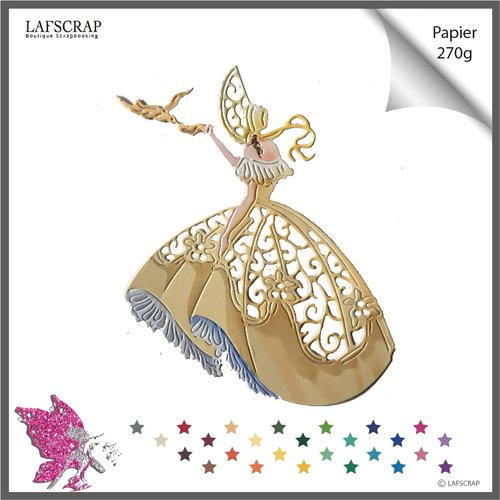 Découpe scrapbooking scrap personnage femme oiseau animal robe découpe papier die cut création