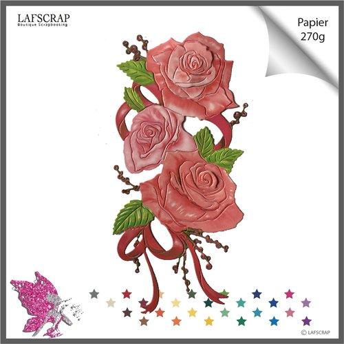 1 découpe scrapbooking scrap fleur rose noeud mariage noces découpe papier embellissement création