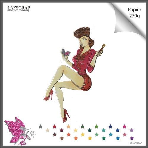 Découpe scrapbooking scrap personnage femme pin up vintage découpe papier embellissement