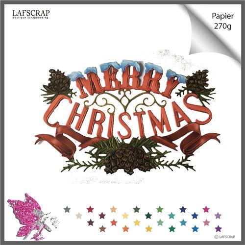 Découpe scrapbooking, cadre noël, mot merry christmas, feuille, ruban cadeau découpe papier embellissement carte création album